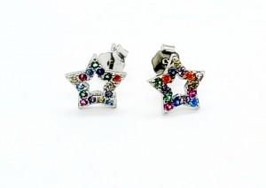 Kolczyki gwiazdki multicolor na sztyfty