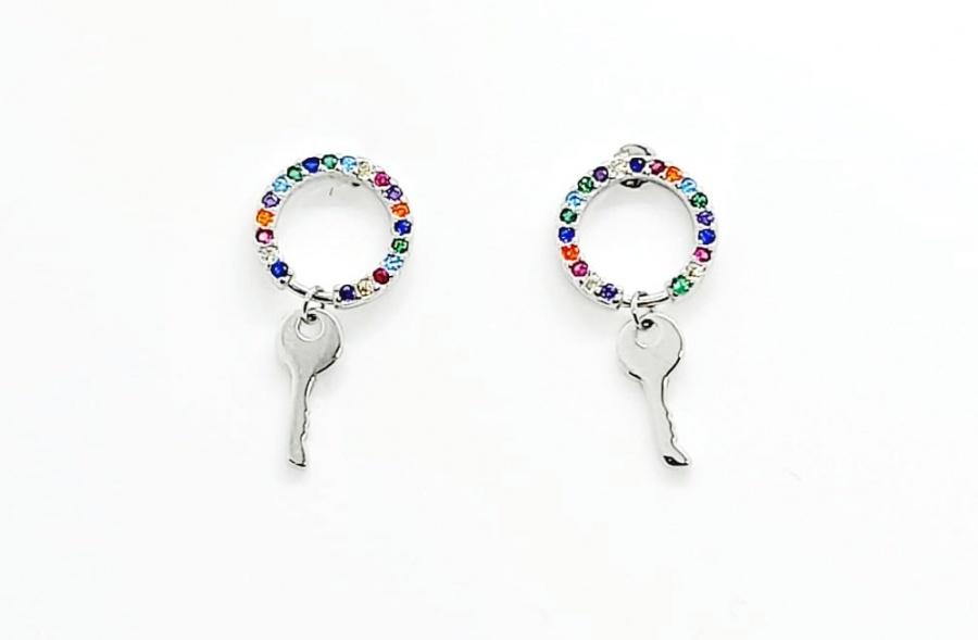 Kolczyki wiszące kluczyki multicolor